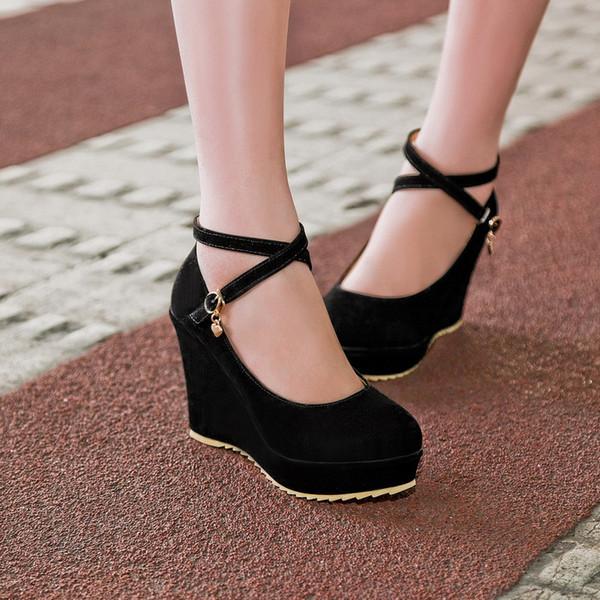talla 40 fa41e b07b7 Compre Nuevas Mujeres Sweet Buckle Wedges Zapatos Plataforma Para Mujer  Moda Primavera Y Otoño Mujer Zapatos De Tacón Alto Punta Redonda A $36.61  Del ...