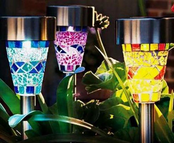 Acquista illuminazione solare a led con design a mosaico lampada da