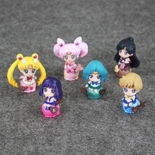 6 pçs / lote Sailor moon Pingente Saturno Urano Pluto Sailor Neptune Sailor Chibi lua figuras de PVC Figura Toy