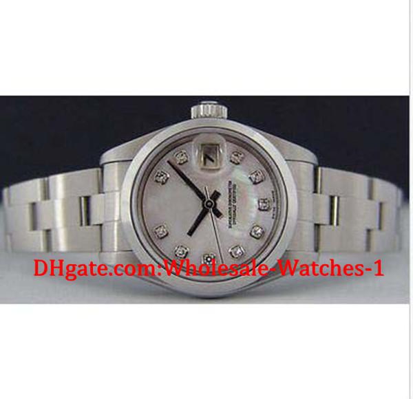 Neu kommen Luxusuhren Geschenkbox an Armbanduhr Edelstahl Damen 26mm MOP Diamond Dial 79160