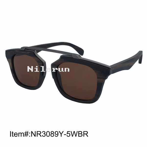 011b47a2fd Unisex men women s square brown polarized lens matt grey metal bridge ebony wood  sunglasses