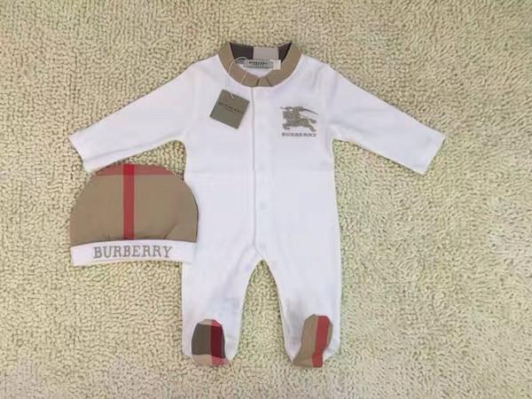 2 adet Set Bebek Romper Klasik ızgara Yenidoğan tulumlar Işlemeli at toddlers Tulum / Romper çocuklar marka giyim Ücretsiz kargo