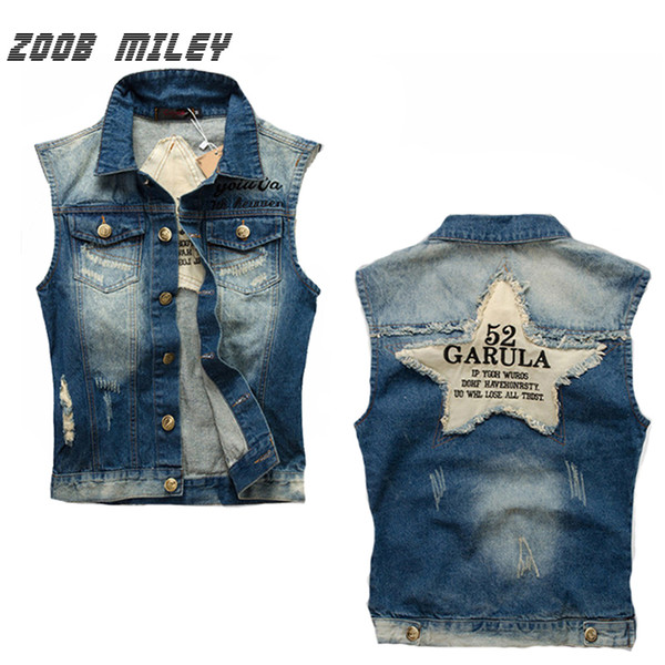 Wholesale- Vintage Denim Vest Male Sleeveless Ripped Jeans Jacket Male Frayed Cowboy Waistcoat Tank Tops Star Patched Designs Size M-4XL