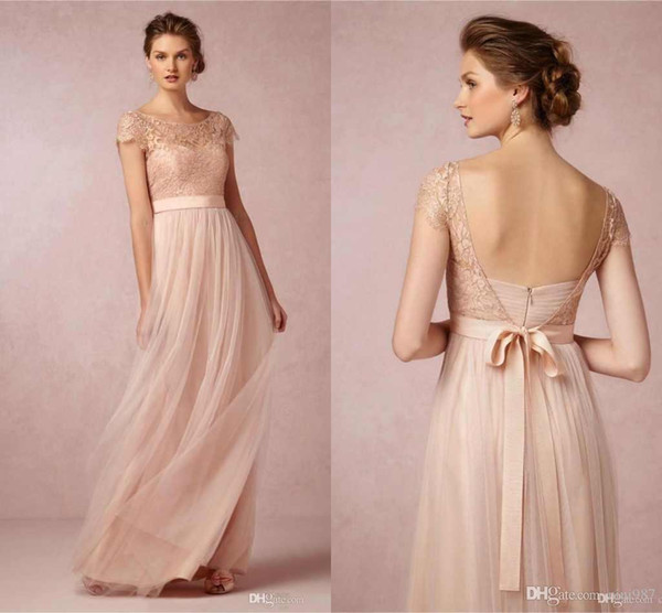 2017 New Elegant Crew Neck Lace Topped Backless Bridemaid Dresses Tulle A-line Floor Length Wedding Party Gowns Custom Made