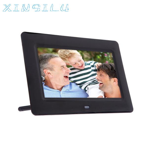 Wholesale-Hot Sale New Fashion 7inch Vertical Hi-definition HD LCD Digital Photo Frame with Alarm Clock Slideshow MP3/4 Player Black Dec16