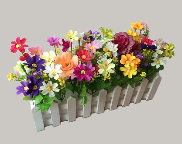 Compre Cerca De Madera 30 Cm Con Tela De Seda Flores Artificiales Falso Arreglo Floral Decoración Del Hogar Decoración De La Boda A 1709 Del Top711
