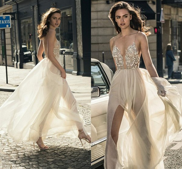 Sexy Middle Split Tulle Skirt Wedding Dresses 2018 Liz Martinez Spaghetti Deep Plunging Sweetheart Neckline Beach Holiday Bridal Gowns