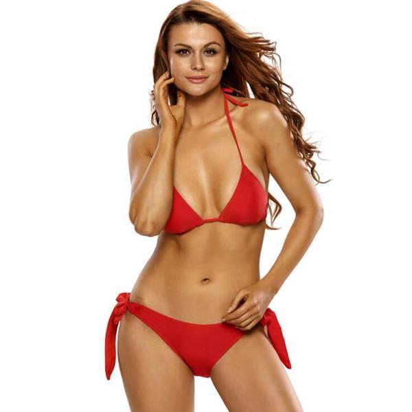 Kırmızı Seksi kadınlar bikini Seti 2017 moda yeni düşük bel halter kayış womens ücretsiz kargo için iki parçalı mayo