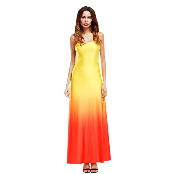 Kadınlar Plaj Elbise Maxi Uzun Elbise Boho Casual Yaz Düğün Akşamları Parti Kolsuz Degrade Patchwork Turuncu Mavi