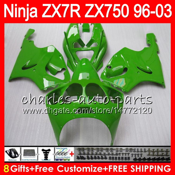 8Regalos 23Colores para KAWASAKI NINJA ZX7R 96 97 98 99 00 01 02 03 ALL verde 18NO61 ZX750 ZX 7R ZX-7R 1996 1997 1998 2001 2002 2003 Carenado