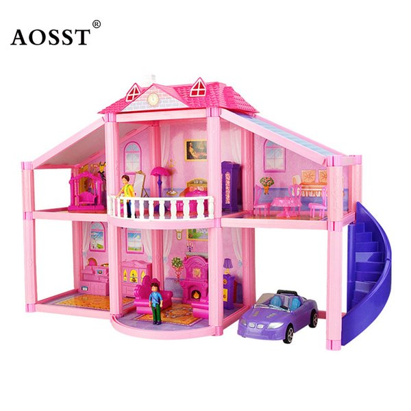 Wholesale  New Fashion DIY Family Doll House Dolls Accessories Toy With  Miniature Furniture Garage Doll