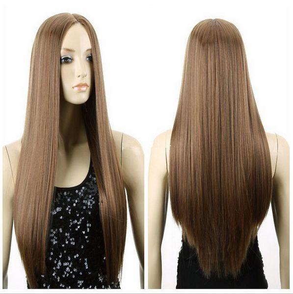 Hot Seller Midum Brown Straight Women s Girl Full Wig brazilian Fashion  Woman s Fibre queen virgin 071fad1e8d