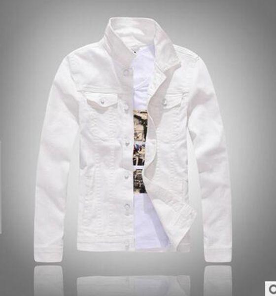 Wholesale- New Korean Solid Color Slim Fit Long Sleeve Men's Casual White Denim Jacket Man Coat Windbreaker  Clothing Outerwear green