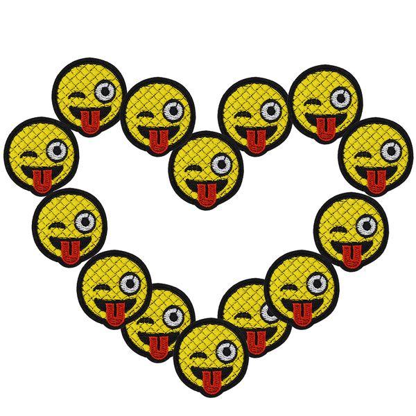 10 unids Tongue en sonriente cara parches insignias para la ropa de hierro parche bordado apliques de hierro en parches accesorios de costura diy