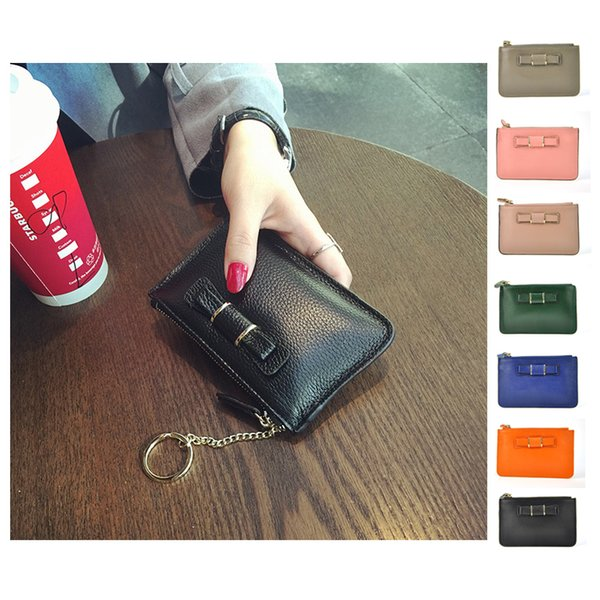 Wholesale- Genuine Leather Coin Purses Men Women's Cute Small Change Money Bags Pocket Wallets Key Holder Case Mini Pouch Zipper