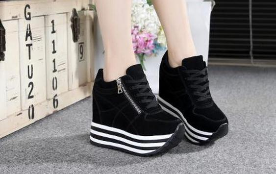 High with the spring and autumn net surface increased leisure female single sponge bottom shoes lace-up shoes