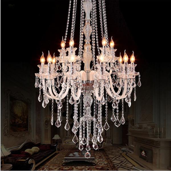 Große Moderne Kristall Kronleuchter Für Hohe Decken Extra Große Kronleuchter  Wohnzimmer Führte Luxus Kronleuchter Industrielle Villa Halle Pendelleuchte