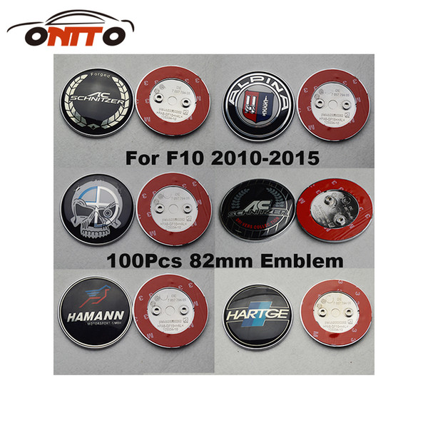 Recomend 100Pcs 82mm For F10 5-Series 2010-2015 Front Bonnet Emblem Cover Head Hood Logo Cap Rear Trunk Label Tail Boot Badge car styling