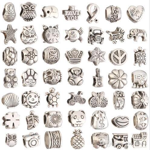Para la fabricación de joyas Big Hole Loose Spacer Beads Charms DIY Craft Venta al por mayor de joyería barata Suministros para pulseras encantos