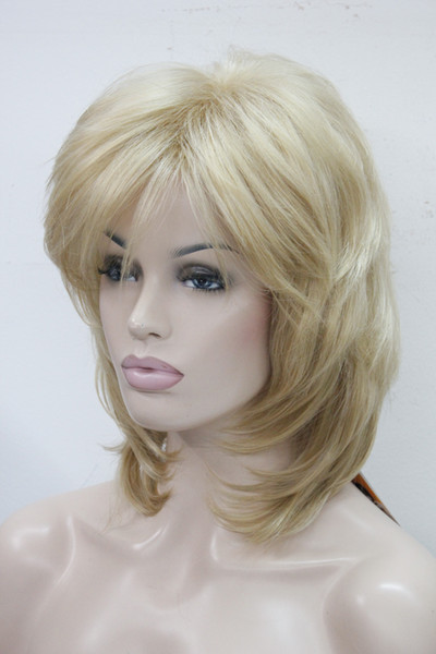 Hivision top quality Hivision elegant medium length chestnut golden blonde layer natural wavy synthetic hair full wig