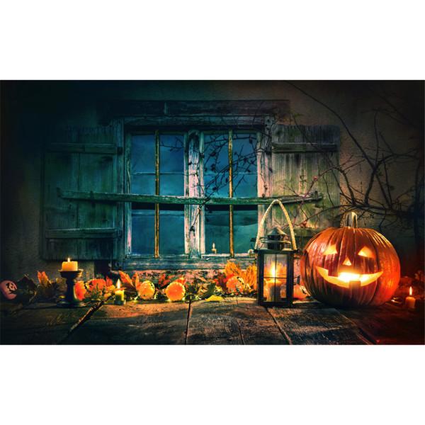 best selling Children Photography Backdrops Halloween Pumpkin Lantern Retro Vintage Wood Window Tree Branches Kids Photo Studio Backgrounds Wooden Floor