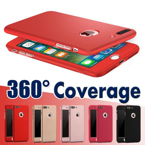 Protección de cobertura total de 360 grados con cubierta de PC dura de vidrio templado para iPhone XS MAX X 8 más 6S MÁS 5S SE