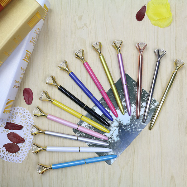 top popular DHL ONLY 19 Carat Large Diamond Ballpoint Pens Crystal ballpoint Pens School Office Writing Supplies Signature pen custom logo 2020