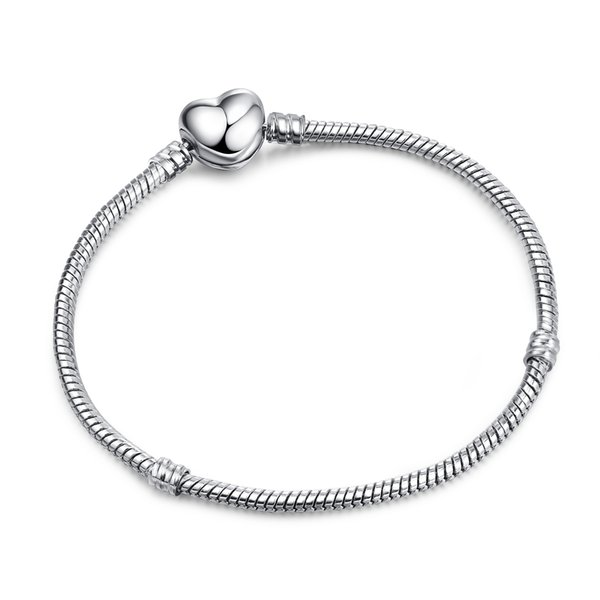 best selling New Arrival Authentic Silver Plated Heart Snake Chain Bracelet & Bangle 17CM-21CM Luxury Jewelry Making DIY LZ18