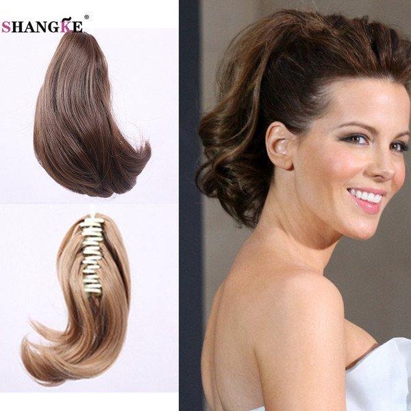 Wholesale- Short claw Ponytail drawing Hair Extension wavy Natural Short Synthetic Ponytails Claw Pony Tail Drawstring Hairpieces