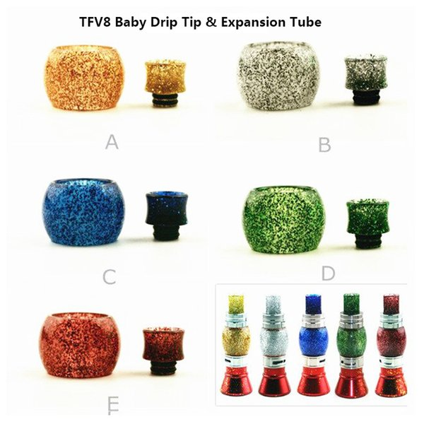 Newest style Replacement Expansion Tube and Drip Tip for TFV8 Baby Big Baby & TFV12 Tank VS Pyrex glass tube Fast free shipping