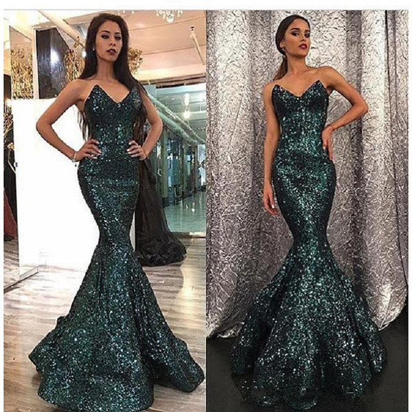 Sequins Evening Dresses 2017 Mermaid Fashion Curved Sweetheart Neck Hunter Color Sweep Train Dubai Prom Gowns abendkleider
