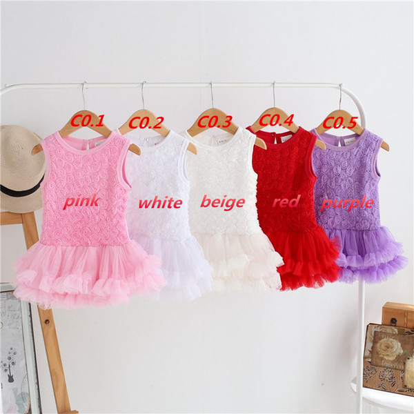 Summer 3D Rose Baby girl Rompers Dress Lace Tutus Newborn Baby one-piece baby dress Infant Clothing LC454