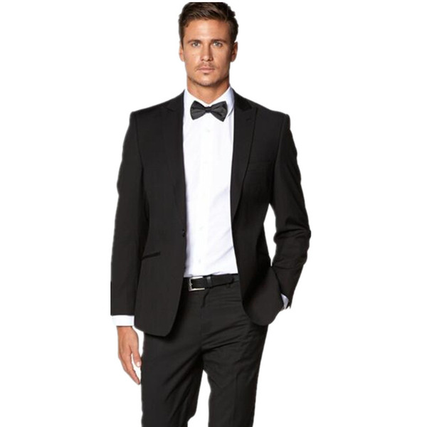 Custom made men suits slim fit groom tuxedos suits black one button wedding groomsman prom dress suits(jacket+pants)
