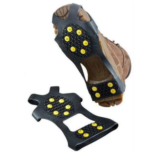 DHL New10 Steel Studs Ice Cleats Ice Snow Grips Over Shoe Boot Cover Traction Cleat Puntas de goma Anti Slip Ski Snow Senderismo escalada Pinza