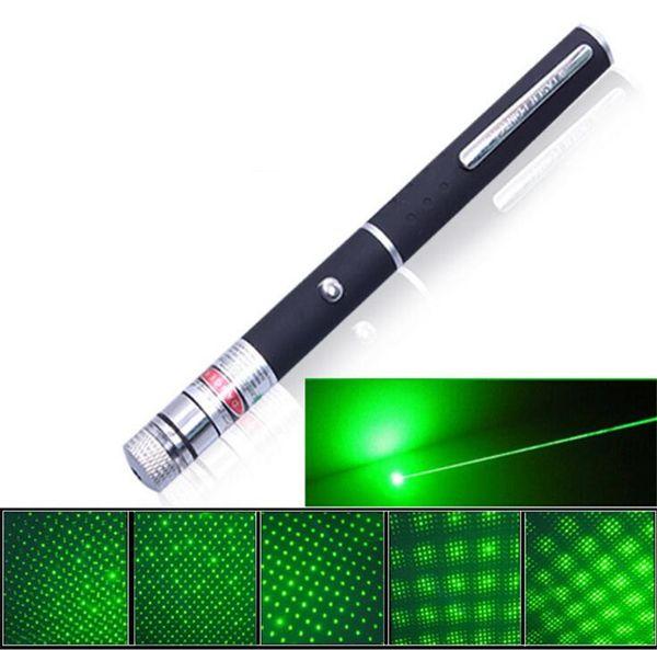 Hot 5in1 Star Cap Muster Grüne Laserpointer 532nm 5mw Star Head Laserpointer Kaleidoskop 5mw Laser brennender Stift LED Laser Licht