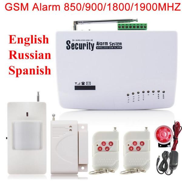 De calidad superior ruso / inglés / español de voz y manual GSM inalámbrico PIR Seguridad para el hogar Sistema de alarma antirrobo Auto marcado SMS de llamada