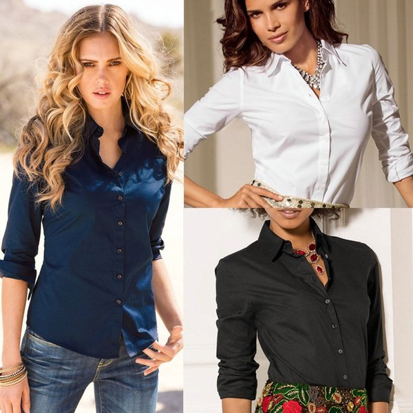 heyingqian / Nova Moda Blusa shirt do desgaste Mulheres Work Long Sleeve Tops de Slim Mulheres blusas Camisas Casual Blusas Femininas S-XL