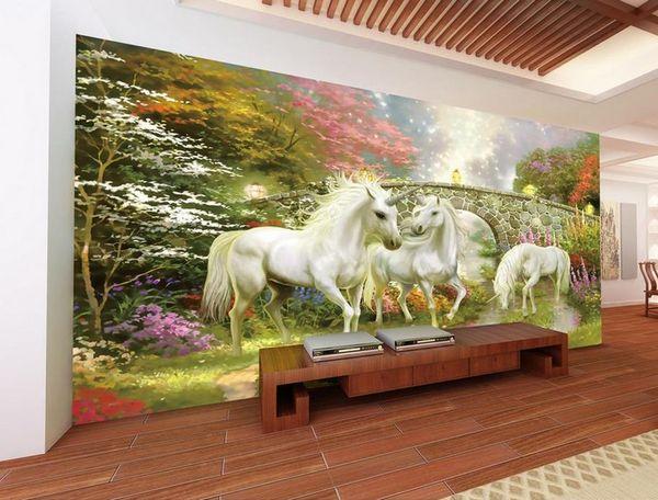 Tapete 3d für Raum Wunderland-Einhorn Fernsehhintergrund-Wandtapete für Anstrich