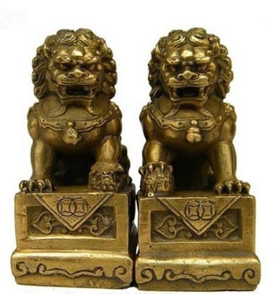 China Chinese Latão Folk Fengshui Foo Fu Dog Guardião Porta Leão Estátua Par