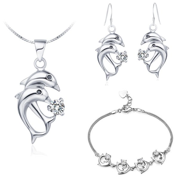 925 Sterling Silver made of Austria crystal exports to Europe Crystal zircon pendant Necklace earring ring Jewe dolphin set Korean jewelry