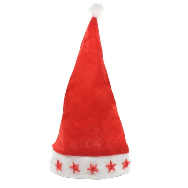 Led Flashing Christmas Hats XMAS Santa Caps Christmas Decoration Light Up Caps Stars Non-woven Christmas Cap Free Shipping