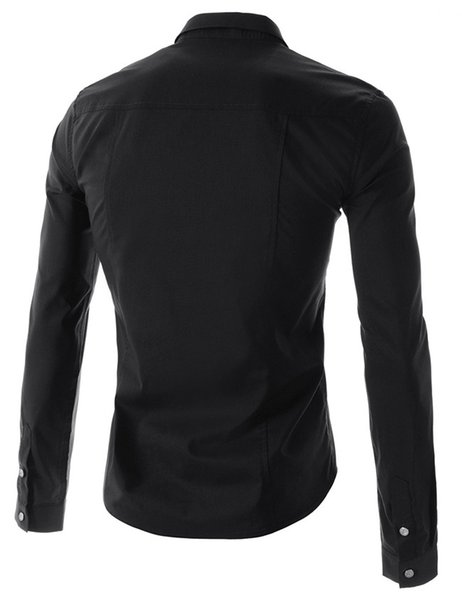 2017 Wholesale Fashion Pure Color Style Men'S Slim Fit Long Sleeve ...