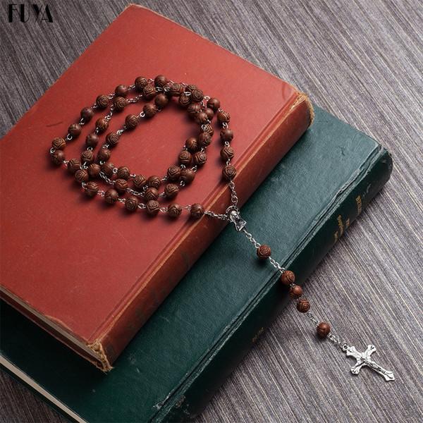 Moda Rosario perline collane per le donne di alta qualità fai-da-te Gesù croce cristiana collane pendenti gioielli a catena lunga Boho