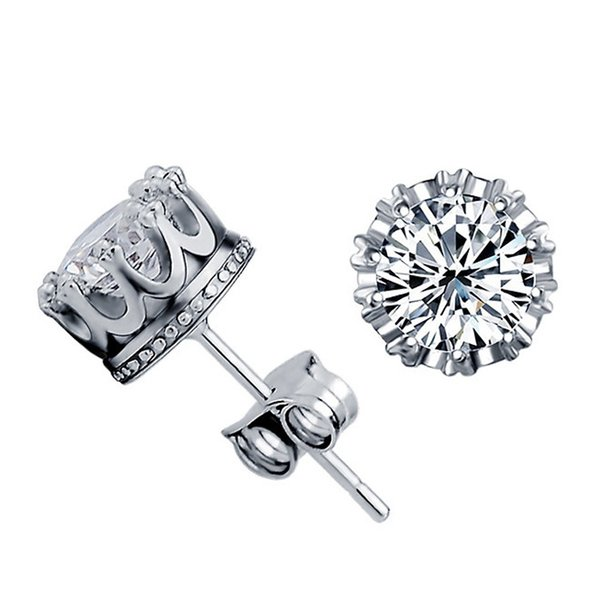 Band New Crown Wedding Stud Earring 2017 New 100% S925 Sterling Silver CZ Simulated Diamonds Engagement Beautiful Jewelry Diamod Ear rings