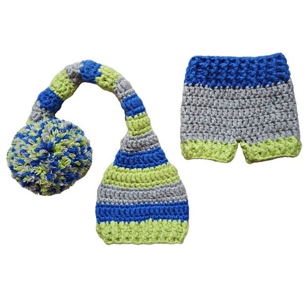 2018 Newborn Elf Long Tail Pompom Hat Shorts Set,Handmade Knit ...