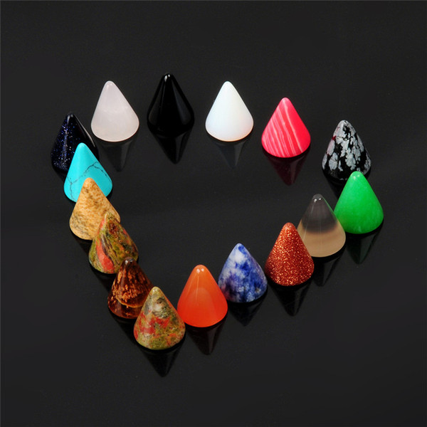 2017 New assorted mixed natural stone cone shape cab cabochon bead for fashion jewelry Accessories 10x12mm wholesale 10pcs/lot free shipping