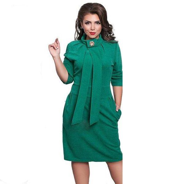 Wholesale- 2017 New Designer Dress Women Plus Size Vestidos Felame Ladies Turtleneck 6XL Knee Length Oversized Sexy Knee Length Dress Party