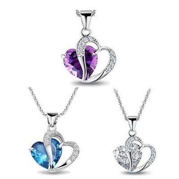 Heißer Verkaufs-925 Sterlingsilber überzogener Kristall-Edelstein-Amethyst-Herz-hängende Halsketten-Weihnachtsgeschenk-Mischungs-Auftrag