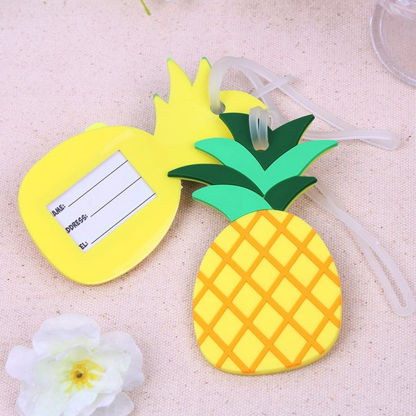 Pineapple Shaped Rubber Luggage Tag Suitcase Label Travel Card Wedding Favor Party Gift + DHL Free Shipping