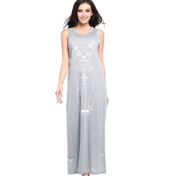 Suvance Fashion Sexy Straight Cat Printed Sleeveless Long Dress Spring Summer New Quality Brandwomen Vestidos
